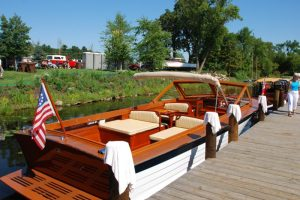 an antique boat at quarterdeck resort