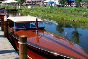 an antique boat at quarterdeck resort