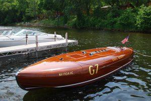 antique boat at Quarterdeck Resort