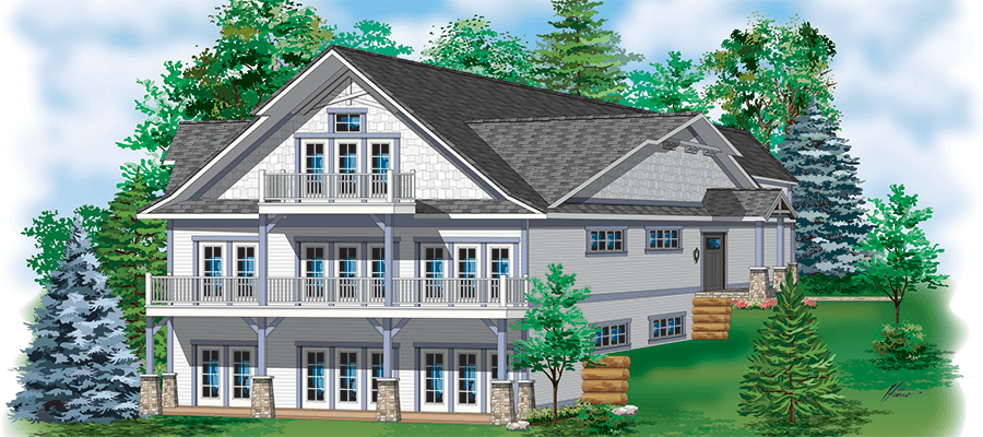 Rendering for new lakeside cottage rental at Quarterdeck Resort on Gull Lake